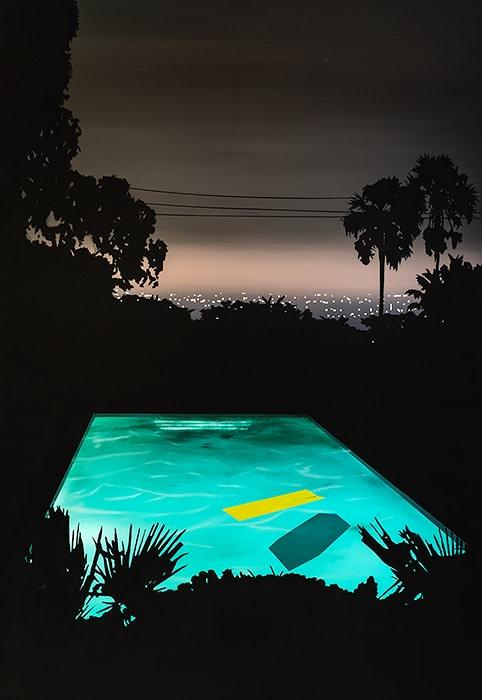 Laurence Jones, Pool with Yellow Float, 2019, acrylic on linen, 110 x 160 cm