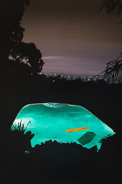 Laurence Jones, Study for Pool with Orange Float, 2019, acrylic on linen, 45 x 30 cm