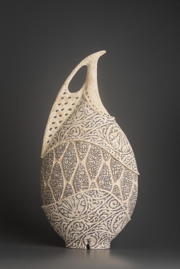 Avital Sheffer, Arista V, 2018, hand-built, glazed and stencilled earthenware, 52 x 26 x 15 cm