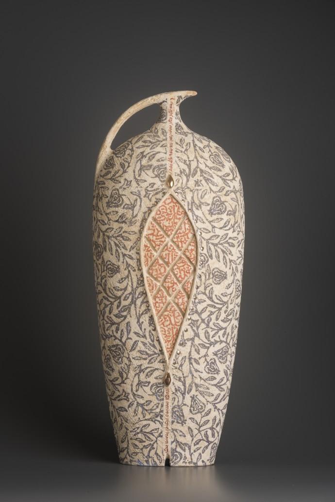 Avital Sheffer, Calamo V, 2018, hand-built, glazed and stencilled earthenware, 52 x 21 x 15 cm