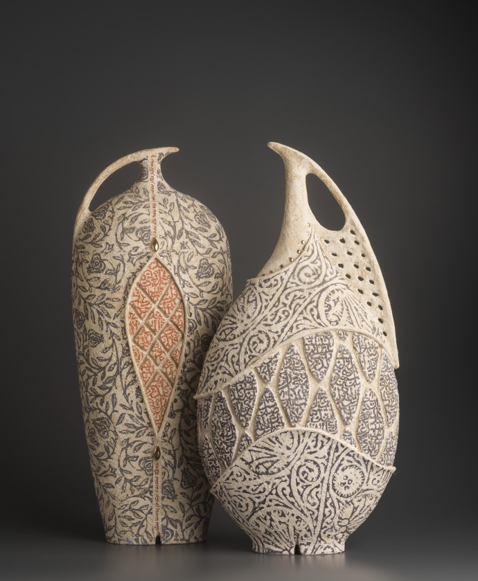 Avital Sheffer, Calamo V & Arista V, 2019, hand-built, glazed and stencilled earthenware, 52 x 20 x 15 cm