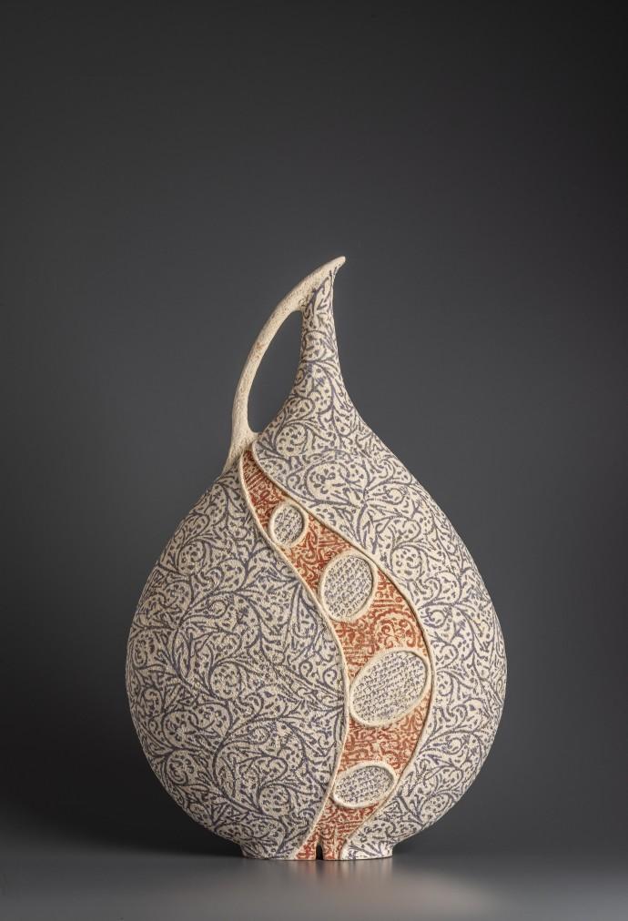 Avital Sheffer, Filia IV, 2019, hand-built, glazed and stencilled earthenware, 59 x 37 x 18 cm