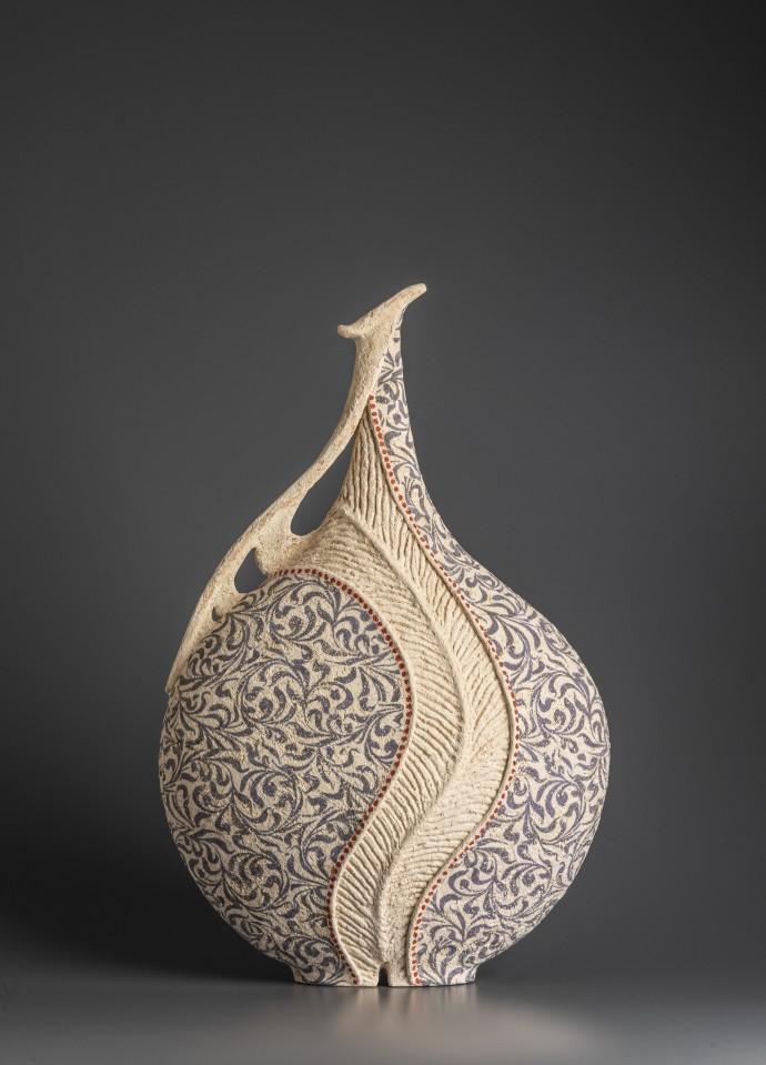 Avital Sheffer, Hadira IV, 2019, hand-built, glazed and stencilled earthenware, 53 x 34 x 17 cm