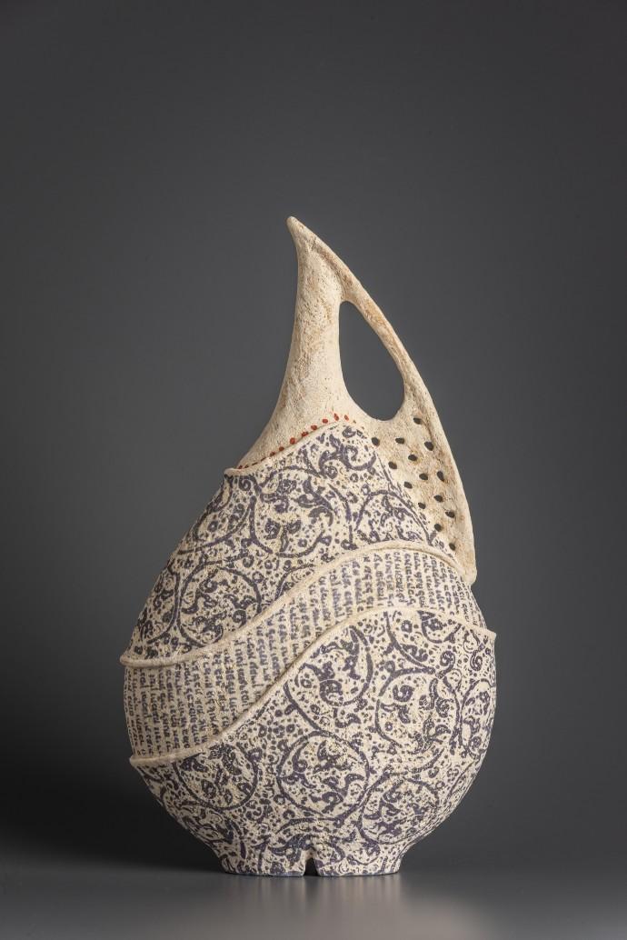 Avital Sheffer, Kalos III, 2019, hand-built, glazed and stencilled earthenware, 40 x 23 x 13 cm