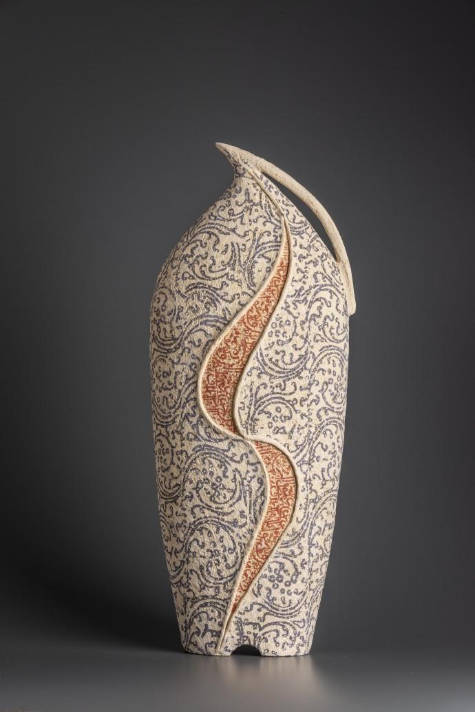 Avital Sheffer, Kulmus, 2019, hand-built, glazed and stencilled earthenware, 54 x 22 x 15 cm