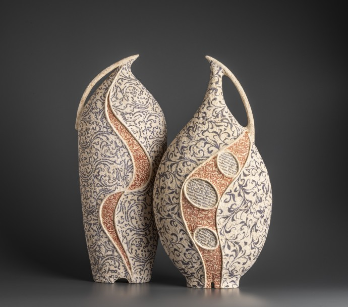 Avital Sheffer, Kulmus I & Filia III, 2019, hand-built, glazed and stencilled earthenware, 54 x 22 x 15 cm