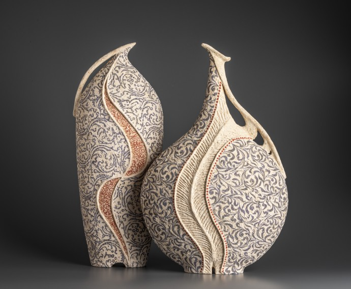 Avital Sheffer, Kulmus I & Hadira IV, 2019, hand-built, glazed and stencilled earthenware, 54 x 22 x 15 cm