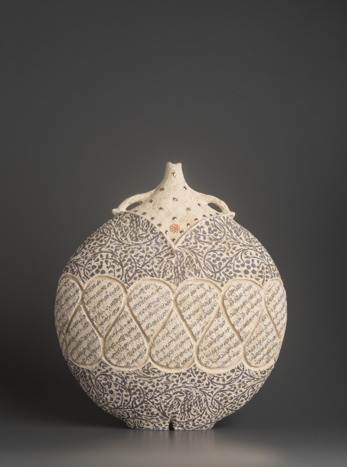 Avital Sheffer, La Mela III, 2019, hand-built, glazed and stencilled earthenware, 38 x 33 x 16 cm