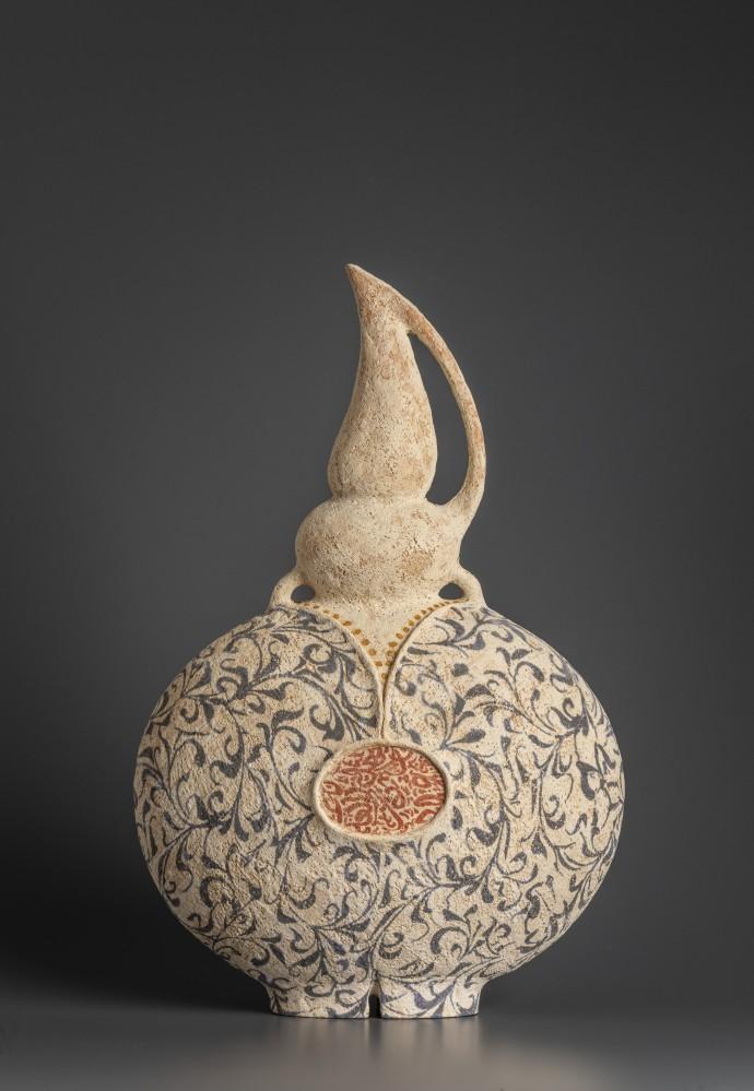 Avital Sheffer, Redoma IX, 2019, hand-built, glazed and stencilled earthenware, 45 x 29 x 14 cm