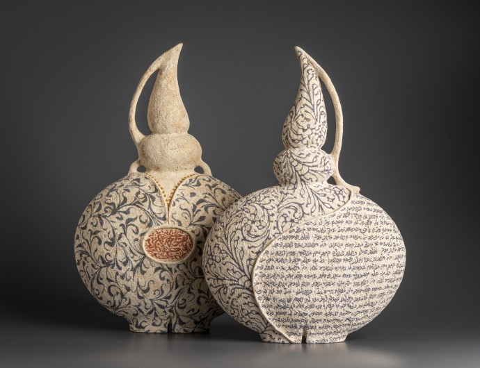 Avital Sheffer, Redoma X & Redoma IX, 2019, hand-built, glazed and stencilled earthenware, 45 x 30 x 13 cm