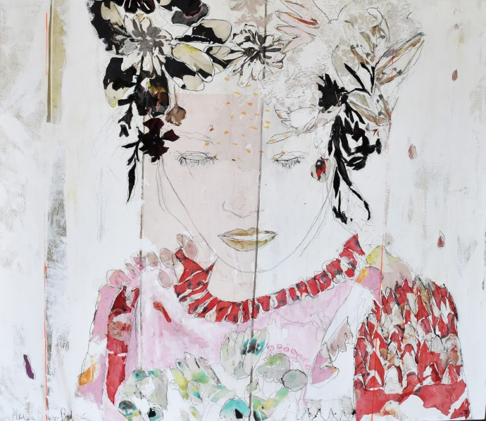 Mersuka Dopazo, Ayu, 2019, mixed media on canvas, 120 x 120 cm
