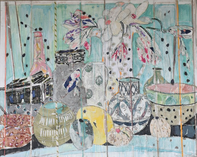 Mersuka Dopazo, Lemon and candles, 2019, mixed media on canvas, 160 x 200 cm