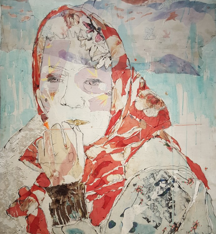 Mersuka Dopazo, Josefina, 2019, mixed media on canvas, 135 x 124 cm