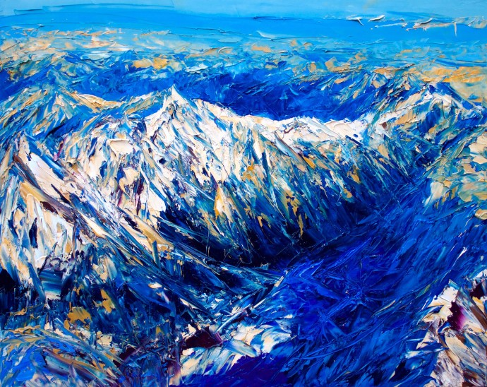 Holly Zandbergen, The Southern Alps From Above, 2019, oil on canvas, 80 x 100cm
