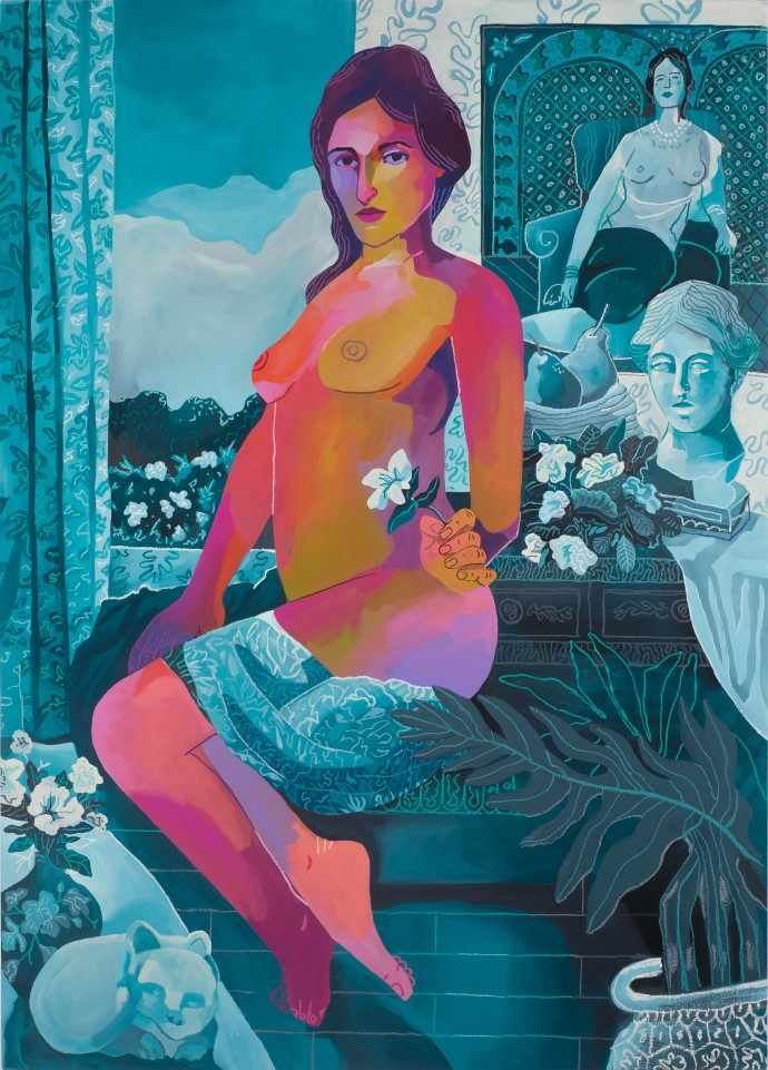 John Holcomb, Bleu Vert Madonna, 2019, acrylic and oil stick on canvas, 160 x 114.3 cm, 63 x 45 in