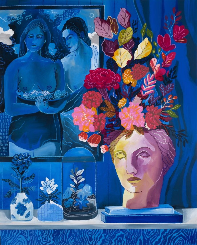 John Holcomb, Blue Vignette No. 1, 2019, acrylic and oil stick on canvas, 127 x 101.6 cm, 50 x 40 in