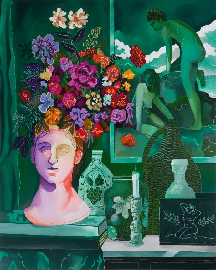 John Holcomb, Green Vignette No. 1, 2019, acrylic and oil stick on canvas, 127 x 101.6 cm, 50 x 40 in