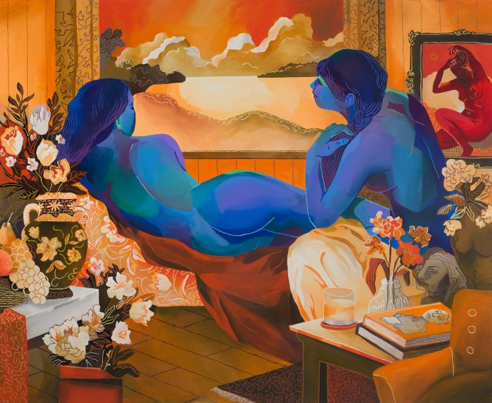 John Holcomb, Sunset Madonnas, 2019, acrylic and oil stick on canvas, 129.5 x 157.5 cm, 51 x 62 in