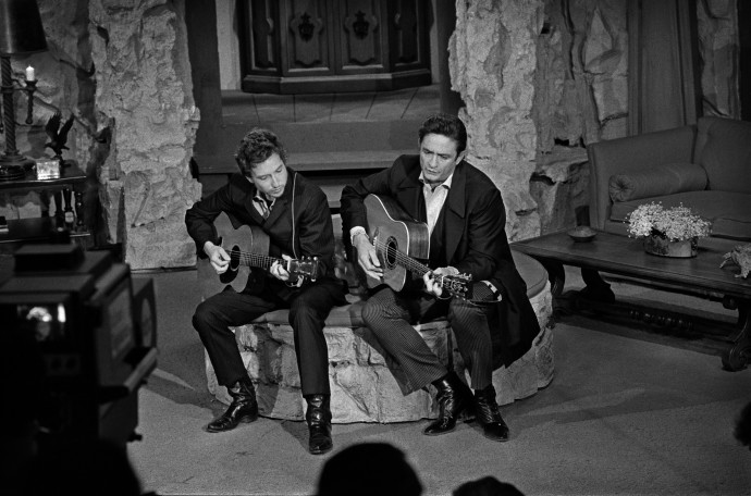 Jim Marshall, Johnny Cash & Bob Dylan, Johnny Cash Show, 1969, Photograph (unframed), Edition of 25, 40.6 x 50.8 cm, 16 x 20 in © Jim Marshall Photography LLC
