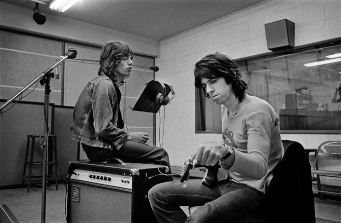 Jim Marshall, Mick Jagger & Keith Richards in the Recording Studio at Sunset Sound Exile on Main Street Recordings Stones, 1972, Photograph (unframed), Edition of 25, 50.8 x 61 cm, 20 x 24 in © Jim Marshall Photography LLC