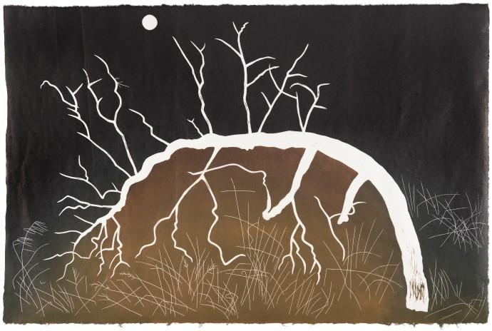 GW Bot, Burnt Bent Glyph, 2020, linocut on Japanese Kozo paper, 64.5 x 98.5 cm, edition of 10