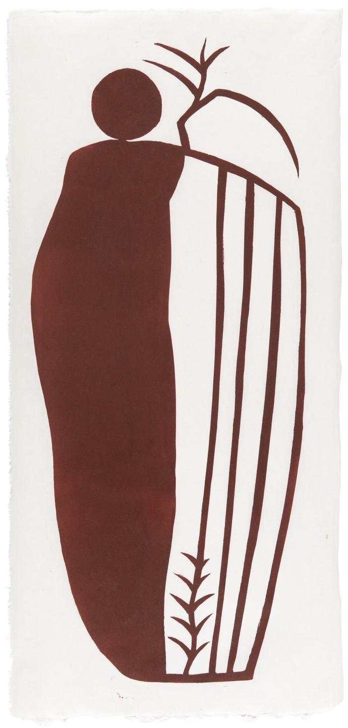 GW Bot, Portrait II, 2020, linocut on Japanese Kozo paper, 75.5 x 35.5 cm, edition of 10