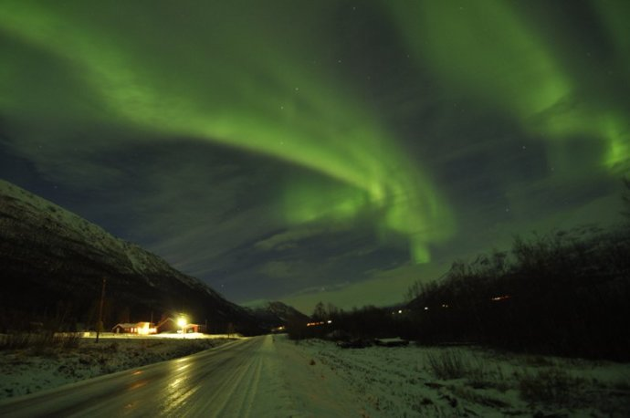 <p><strong>Catherine Sales</strong>,&#160;<em>Auroras Over Houses</em>, 2013, photography, 40 x 61cms</p>