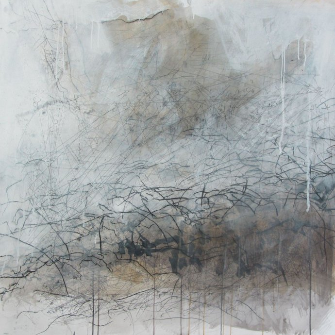 <p><strong>Debbie Locke & Sara Dudman</strong>,&#160;<em>Sheep-cam in Barn 00:45 - 02:25</em>, 2013, gesso, gouache, ink, graphite and charcoal on paper, 106 x 106cms</p>