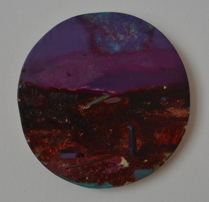Mirela Moscu, Untitled, 2013, oil on wood, 17cms diameter