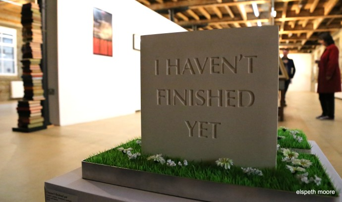 Let Me Out/I Haven't Finished Yet, 2012, cast Cassini's plaster and fake grass, 30 x 30 x 20cm