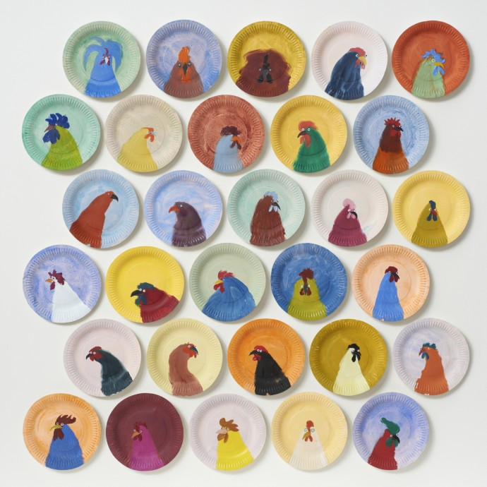 Holly Frean 30 Chickens No.2, oil on paper plates, 105 x 105 cm