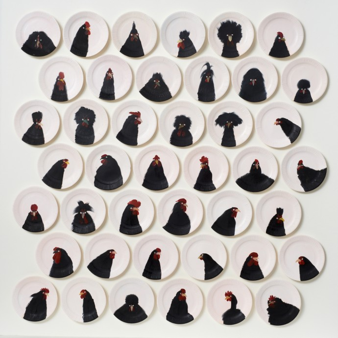 Holly Frean 42 Black-on-White Chickens, oil on paper plate, 120 x 120 cm
