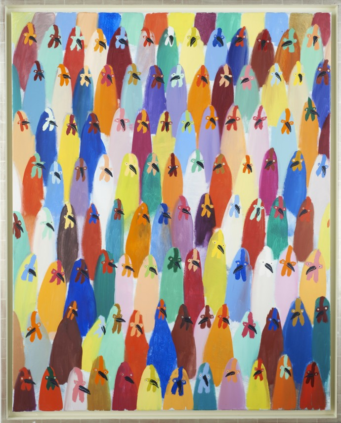Holly Frean A Crowd of Chickens, oil on canvas, approx 130 x 160 cm