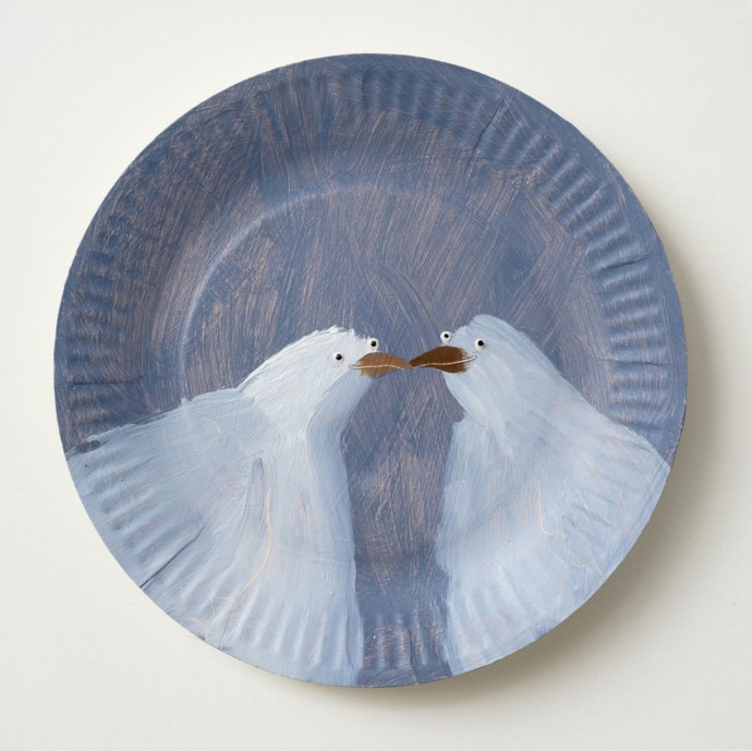 Holly Frean Kissing Doves, oil on paper plate, approx 25 x 25 cm
