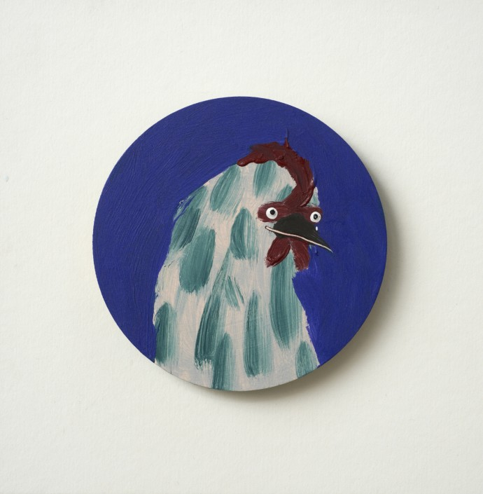 Holly Frean Spaced Out Chicken, oil on wood, approx 18 x 18 cm