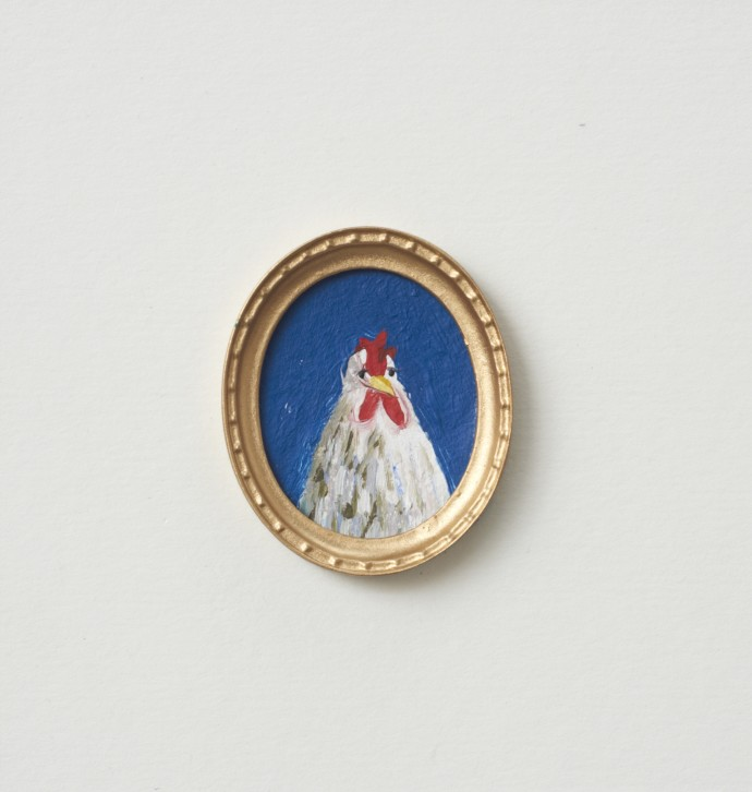 Holly Frean Miniature Chicken Portrait in Gold Frame, oil on card, 15 x 15 cm