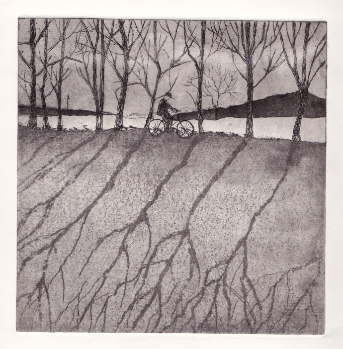 <p>Joan Dannatt,&#160;<em>Winter Cycle</em>, 2013, aquatint etching, 16 x 16 cm</p>