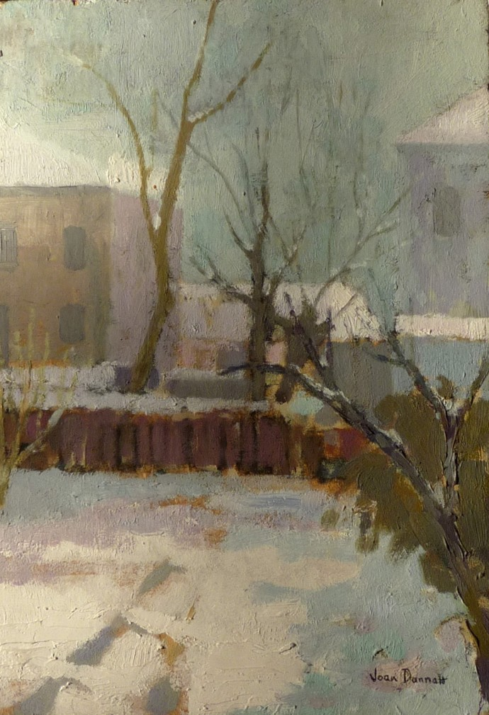 Joan Dannatt, Winter Garden, 2001, oil on board, 41 x 30 cm
