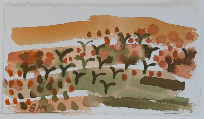 Barbara Macfarlane, Apricot Trees 1 , 2019, watercolour on khadi paper, 25 x 39 cm, 9 7/8 x 15 3/8 in (framed)