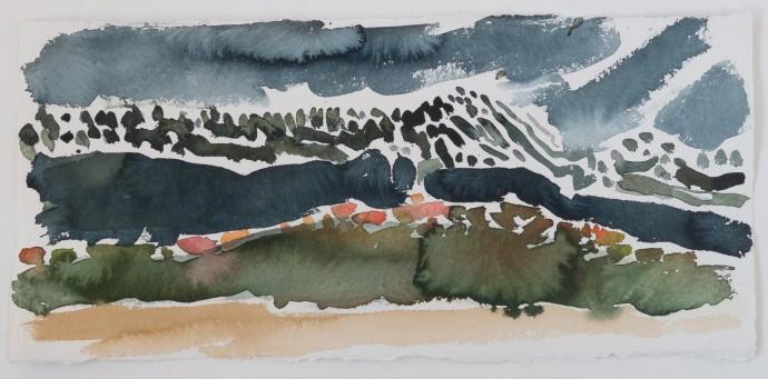Barbara Macfarlane, Besignan Valley , 2019, watercolour on khadi paper, 38 x 68 cm, 15 x 26 3/4 in (framed)