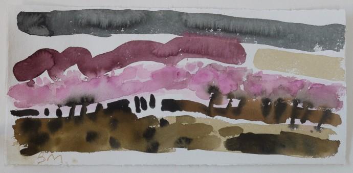 Barbara Macfarlane, Blossom Autanne, 2019, watercolour on khadi paper, 38 x 68 cm, 15 x 26 3/4 in (framed)