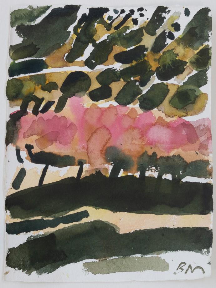 Barbara Macfarlane, Fruit Trees Baronnies 1, 2019, watercolour on Khadi paper, 50 x 40 cm, 19 3/4 x 15 3/4 in (framed)