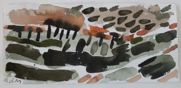 Barbara Macfarlane, Path to Col de Bedon, 2019, watercolour on Khadi paper, 38 x 68 cm, 15 x 26 3/4 in (framed)