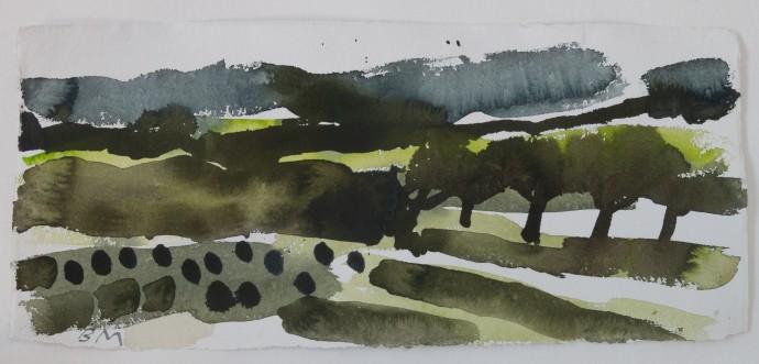 Barbara Macfarlane, Spring Storm Autanne, 2019, watercolour on Khadi paper, 38 x 68 cm, 15 x 26 3/4 in (framed)