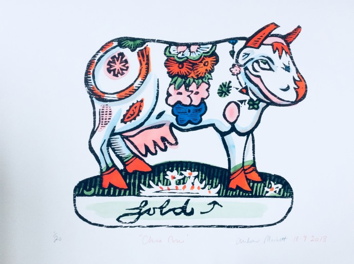 Andrew Mockett, China Cow, 2018, screen printed woodcut, hand painted with calligraphy inks on Bockingford paper (framed)  136 x 167 cm, 53 1/2 x 65 3/4 in, edition of 20