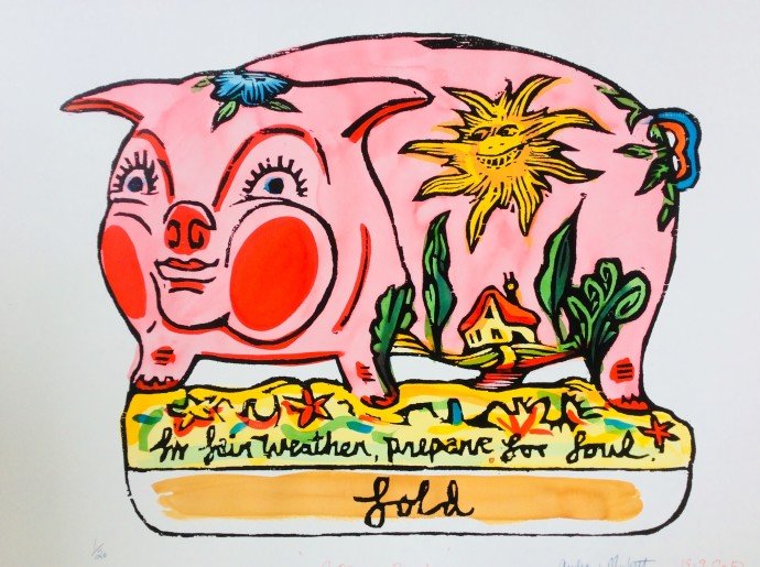 Andrew Mockett, Pig, 2018, screen printed woodcut, hand painted with calligraphy inks on Bockingford paper (framed), 136 x 167 cm, 53 1/2 x 65 3/4 in, edition of 20