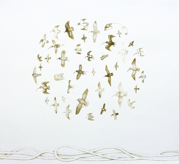 Alasdair Wallace, Circle Flock, 2010, ink on paper (framed), 61 x 87 cm, 24 1/8 x 34 1/4 in