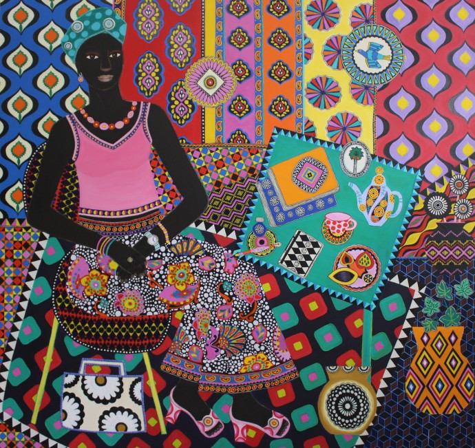 Carla Kranendonk, Ndiaye, 2020, hand embroidery, beadwork, acrylic and collage on canvas, 180 x 190 cm, 70 7/8 x 74 3/4 in