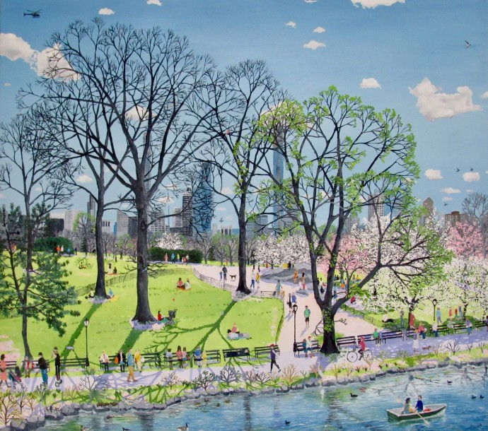 Emma Haworth, Central Park Spring, 2019, oil on canvas, 95 x 85 cm, 37 3/8 x 33 1/2 in