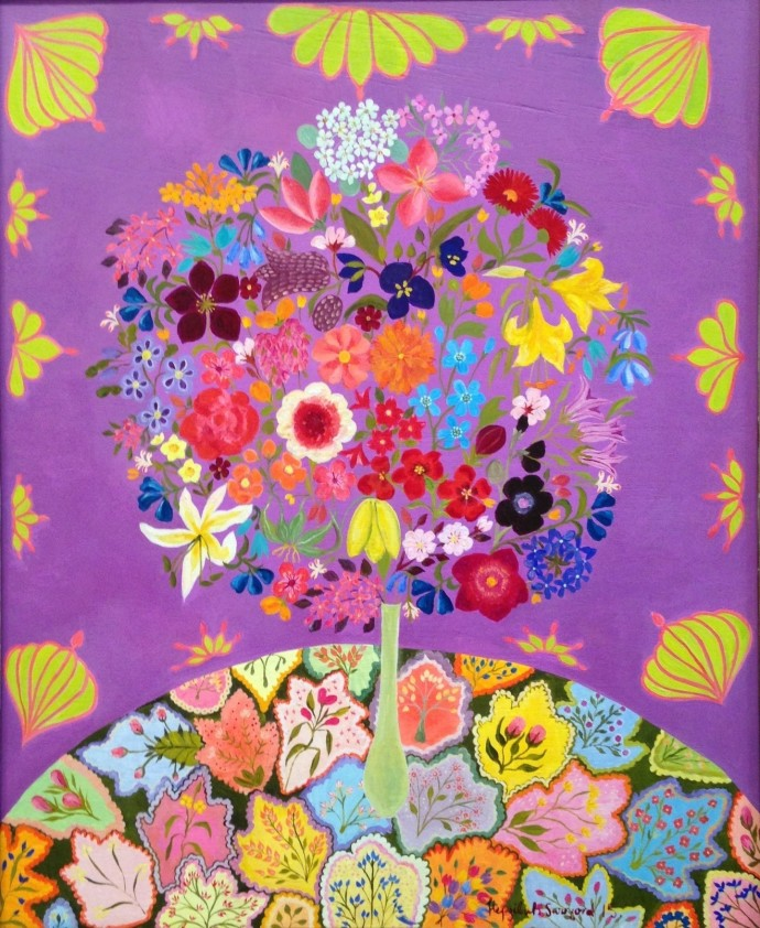 Hepzibah Swinford, Flowers With Patchwork, 2015, oil on board (found vintage frame), 69 x 58 cm, 27 1/8 x 22 7/8 in